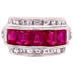 Ruby and Diamond Platinum Band Cocktail Ring Estate Fine Jewelry