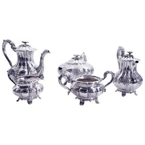 Birks Sterling Silver Repoussé 5-Piece Coffee Tea Set Fabulous Estate Find