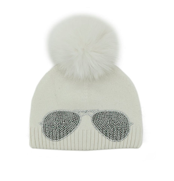 White Aviator Knitted Beanie with Fox Pom Pom