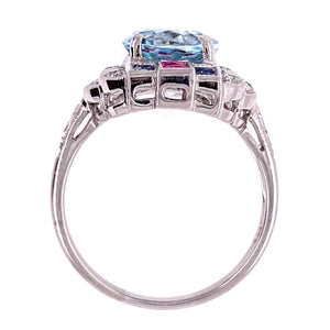 2.53 Ct. Aquamarine Diamond Ruby Sapphire Gold Cocktail Ring Estate Fine Jewelry