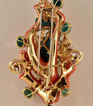 Tony Duquette Malachite Seahorse and Coral Pearl Emerald Diamond Gold Brooch Pin