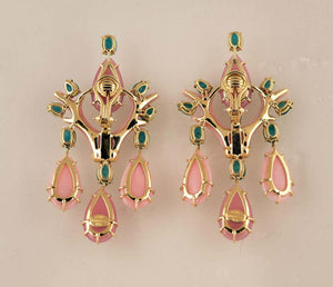 Pink Opal Quartz Emerald & Diamond Gold Drop Earrings Tony Duquette Fine Jewelry