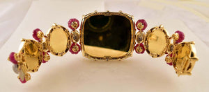 11.10 Carat Diamond HP Plaques and Ruby Gold Bracelet Tony Duquette Fine Jewelry