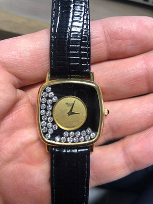 Chopard 1.80 Carat Happy Diamonds 18 Karat Yellow Gold Watch Fine Estate Jewelry