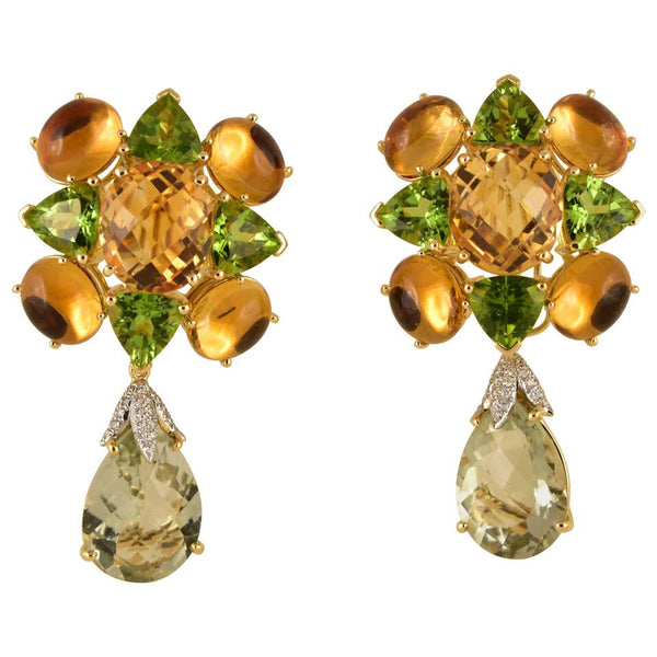 Amethyst, Peridot, Citrine and Diamond Gold Earrings Tony Duquette Fine Jewelry
