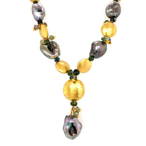Tahitian Pearl Sapphire Gold Laura Gibson Designer Necklace Estate Fine Jewelry