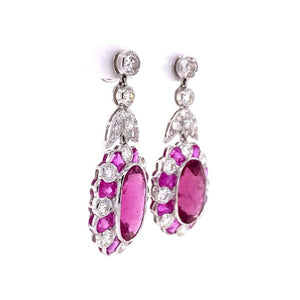 Rubelite Tourmaline and Diamond White Gold Drop Earrings Estate Fine Jewelry