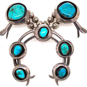Native American Turquoise Old Pawn Navajo Squash Blossom 925 Silver Necklace