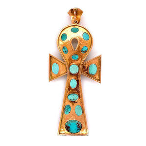 Large Sleeping Beauty Gold and Turquoise Statement Ankh Cross Pendant