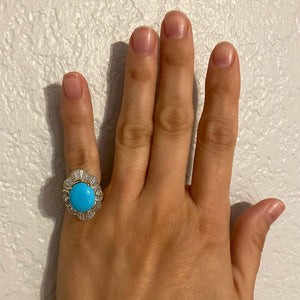 4.60 Carat Turquoise and 2.12 Carat Diamond Cocktail Ring Estate Fine Jewelry