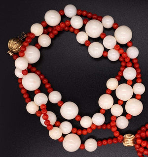 Natural Red and Natural White Coral Beads Necklace Estate Fine Jewelry