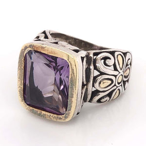 Designer John Hardy Gold and Sterling Silver Amethyst Cocktail Ring Estate Find