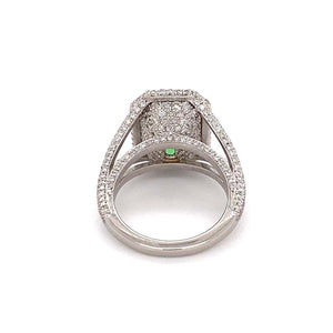 6.00 Carat Green Paraiba Tourmaline Diamond Platinum Ring Estate Fine Jewelry