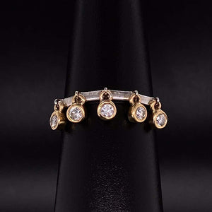 Free Flowing Diamond Stackable 2-Tone Gold Band Ring Fine Estate Jewelry