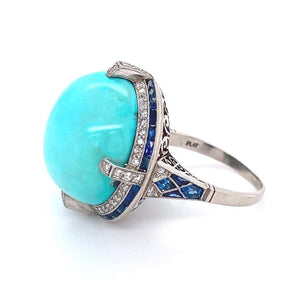 6.50 Carat Turquoise Diamond Sapphire Platinum Cocktail Ring Estate Fine Jewelry