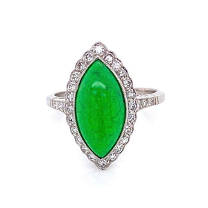 4 Carat Navette Green Turquoise and Diamond Platinum Ring Estate Fine Jewelry