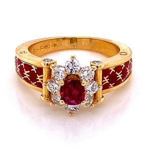 Ruby and Diamond Red Enamel Gold Ring Fine Estate Jewelry France