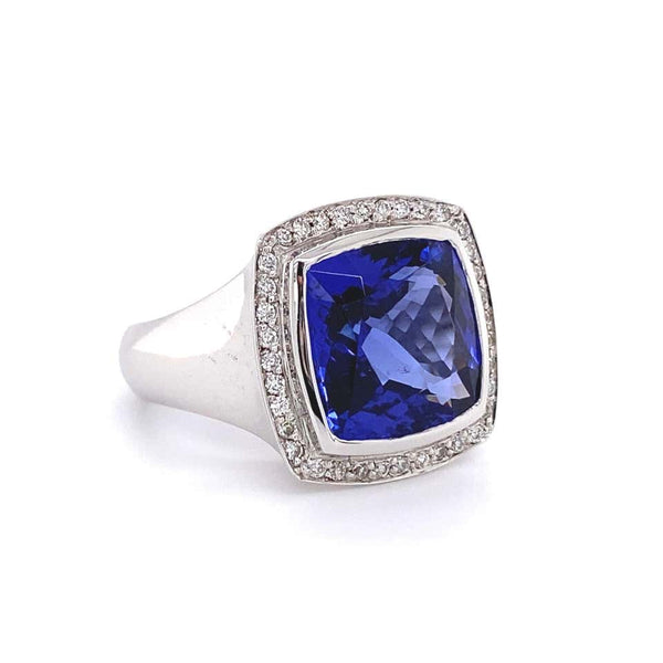 8.58 Carat Cushion Cut Tanzanite and Diamond Gold Ring Estate Fine Jewelry