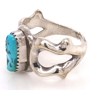 Stylized Owl Turquoise Native American Sterling Silver Ring Estate Fine Jewelry