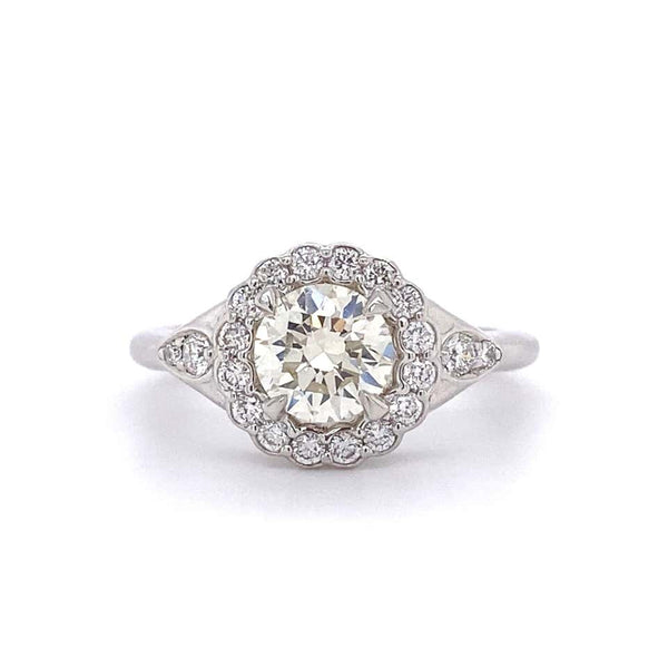 1.05 Carat Diamond Art Deco Style Platinum Cocktail Ring Estate Fine Jewelry