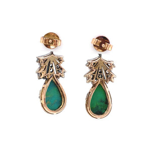 Turquoise and Diamond Platinum Edwardian Style Drop Earrings Fine Estate Jewelry