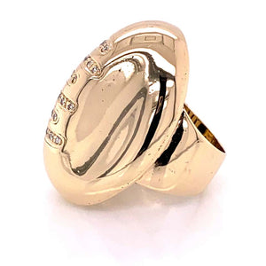 Gold Football Ring with Diamond Laces Estate Fine Jewelry
