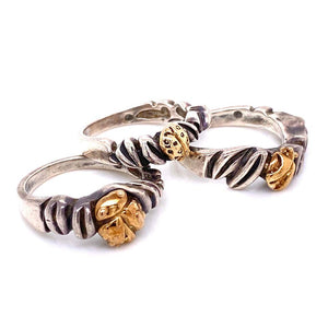 Dian Malouf Designer Gold and Sterling Triple Ladybug Rings Estate Fine Jewelry