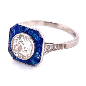 Diamond and Blue Sapphire Platinum Halo Art Deco Style Ring Estate Fine Jewelry