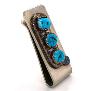 Native ZUNI Old Pawn Turquoise and Sterling Silver Serpent Design Money Clip