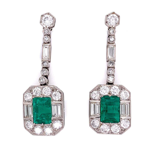 Emerald and Diamond Platinum Retro Drop Earrings Estate Fine Jewelry