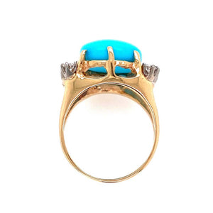 6.45 Carat Turquoise and Diamond Gold Cocktail Ring Estate Fine Jewelry