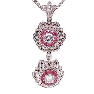 White and Pink Diamond Double Drop Pendant Necklace Mayor Estate Fine Jewelry