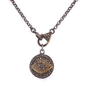 Designer Diamond Evil Eye Sterling Silver Pendant Necklace Estate Fine Jewelry