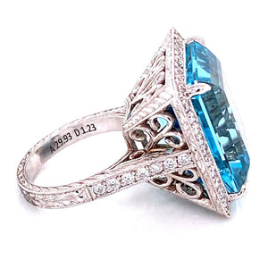 29.93 Carat Aquamarine and Diamond Gold Cocktail Ring Estate Fine Jewelry