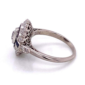 Diamond and Sapphire Art Deco Style Cocktail Platinum Ring Estate Fine Jewelry