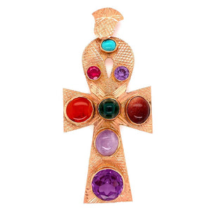 Multi Gemstone and Rose Gold Statement Ankh Cross Pendant Estate Find