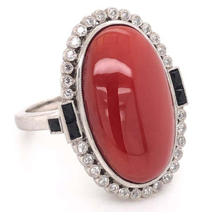 15.81 Carat Deep Red Coral Onyx Art Deco Style Platinum Ring Estate Fine Jewelry