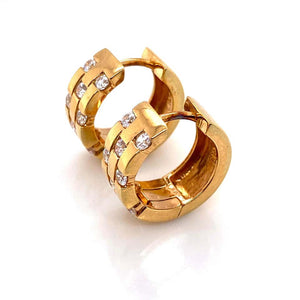 Diamond Huggie Hoop Gold Earrings Estate Fine Jewelry