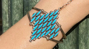 Native American Zuni Petit Point Turquoise Sterling Silver Ring Bracelet Combo