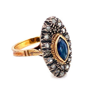 Marquise Sapphire Diamond Gold Silver Topped Cocktail Ring Estate Fine Jewelry
