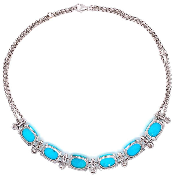 Natural Turquoise and Diamond Gold Collar Necklace Estate Fine Jewelry