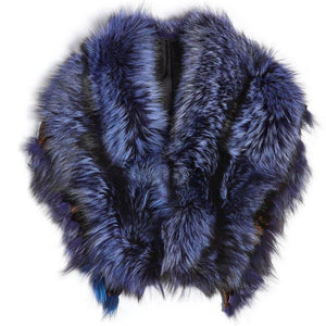 Luxurious Oversized Blue Fox Fringe Fur Collar Wrap