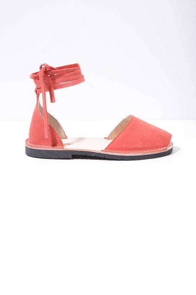 discount buy Solillas Pink Suede Ankle Tie Menorcan Sandals buy cheap geniue stockist view sale online browse for sale SrpSSMb3N