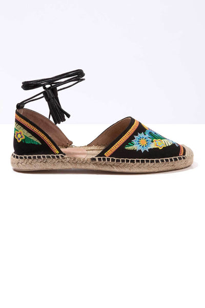 Folk Sunset - Embroidered Ankle Tie Espadrilles