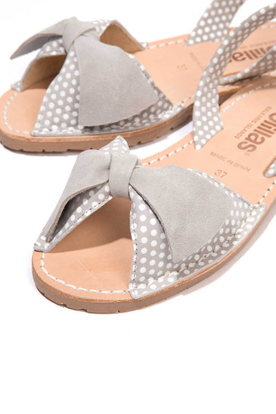 Grey polka dot leather Menorcan Sandals for Women, made in Spain by Solillas Australia, close up view