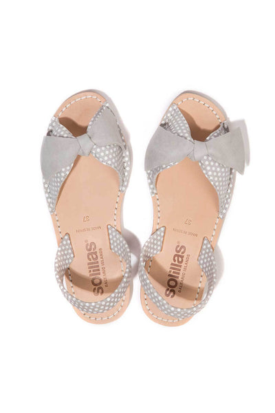 Grey polka dot leather Menorcan Sandals for Women, made in Spain by Solillas Australia, above view