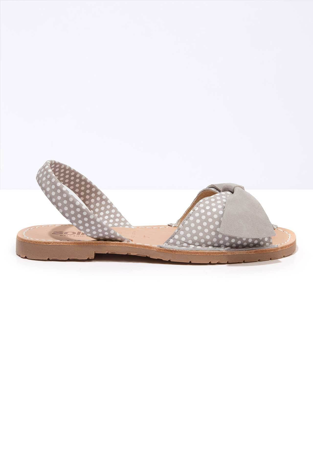 Grey polka dot leather Menorcan Sandals for Women, made in Spain by Solillas Australia, side view