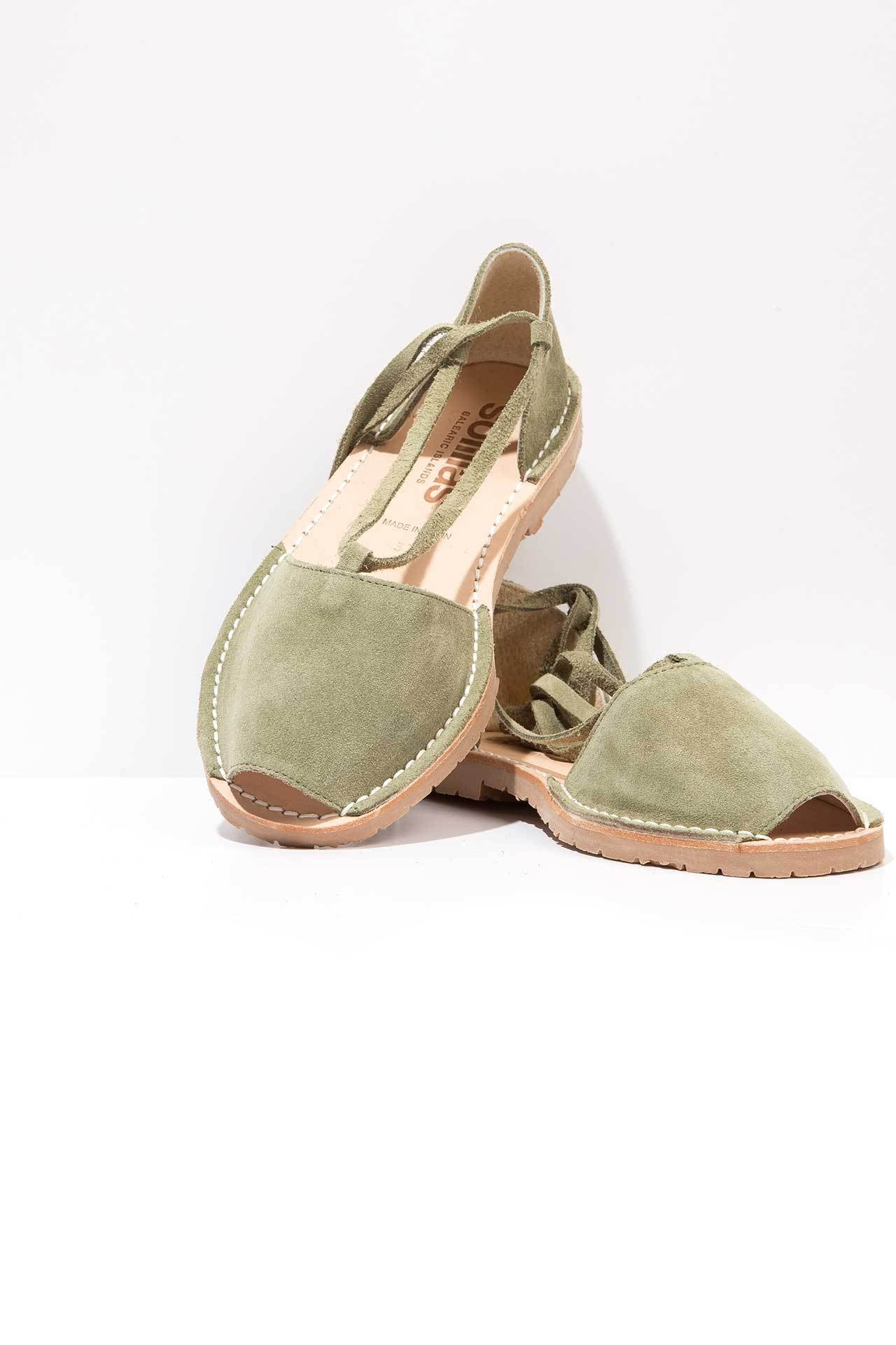 Solillas Exclusive Khaki Suede Ankle Tie Menorcan Sandals