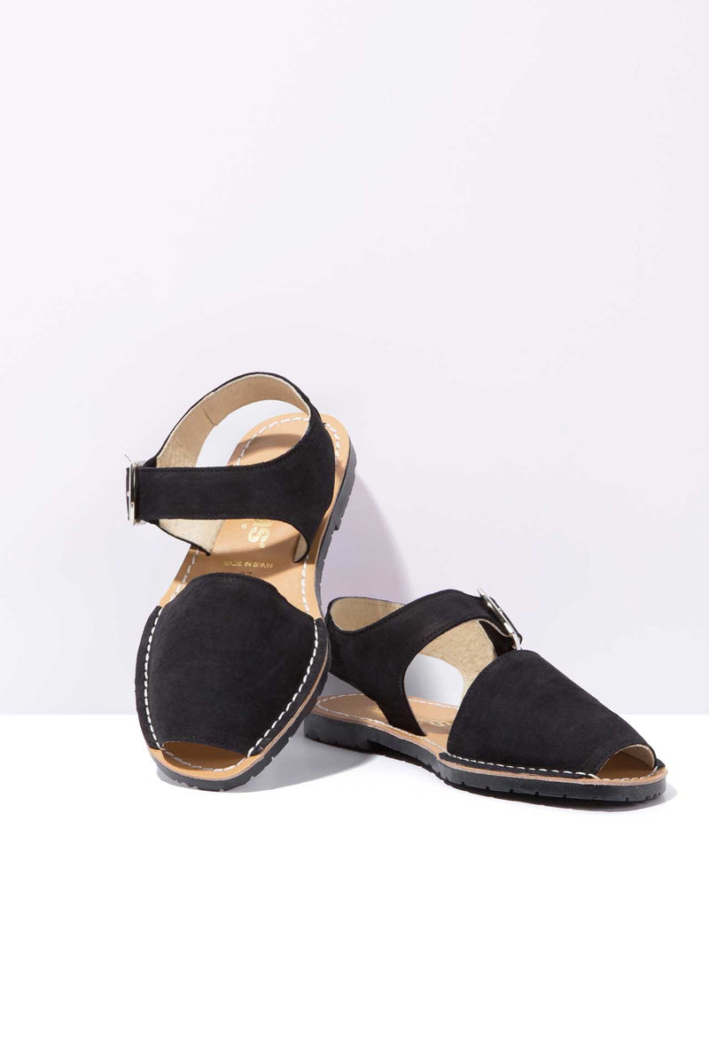 NOCHE PESCA - Black Nubuck Leather Ankle Strap Sandals