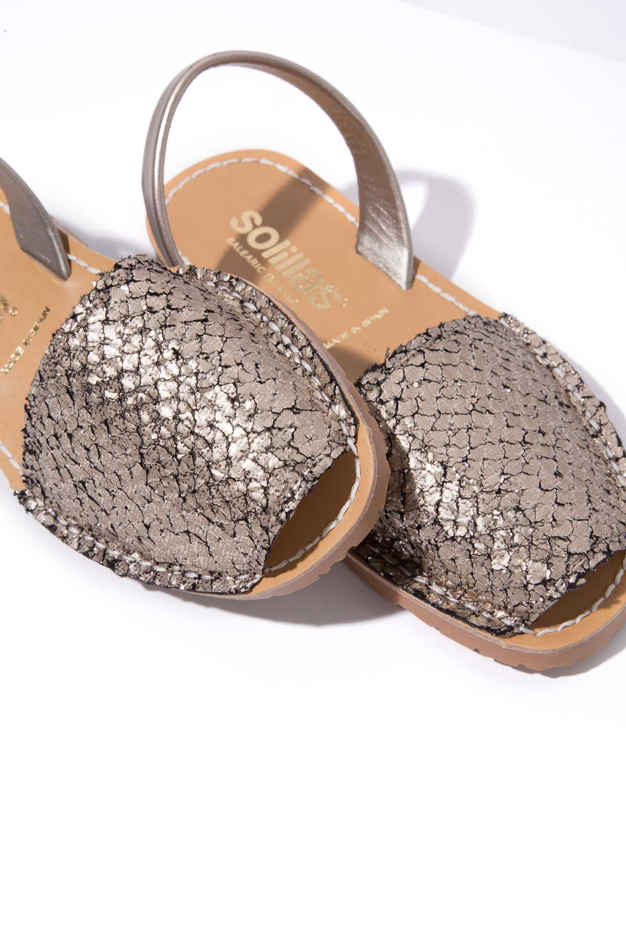 SANTOS - Distressed Gunmetal Leather Menorcan sandals